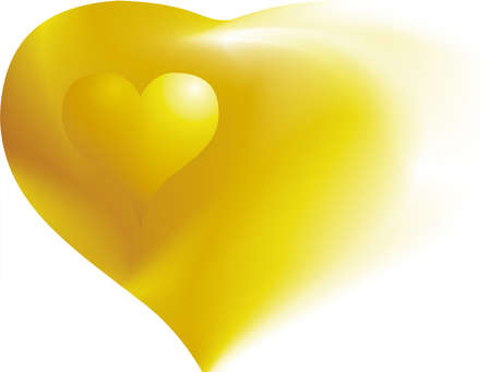 bosom: two golden hearts together on white background