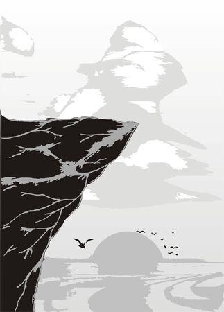 bluff: roccia scura sopra mare nel tramonto e nube