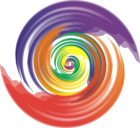 colorful vortex of rainbows on white background Vector