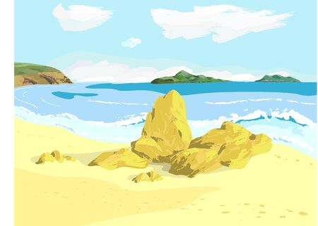 View on bay with islands from beach Illustration