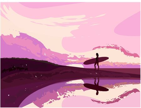 littoral: Surfer on beach during twilight Illustration