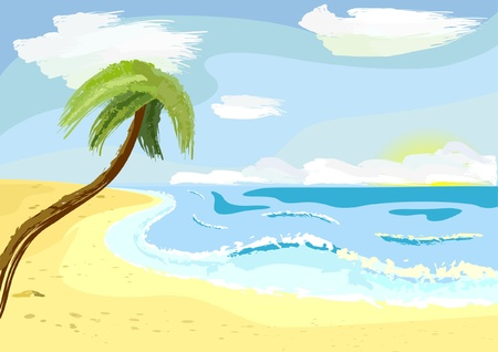 littoral: lonely nice palm tree on sunny beach Illustration