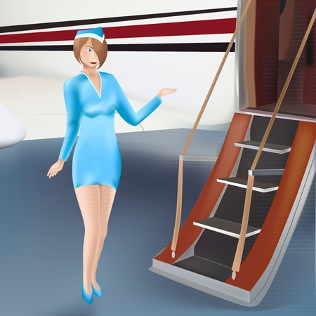 Welcoming air hostess in front of plane Vector