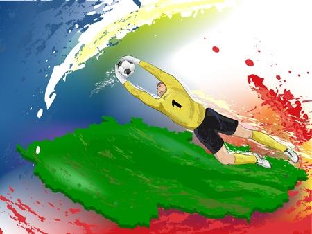 futbol soccer dibujos: portero en color amarillo est� alcanzando la pelota en el aire Vectores