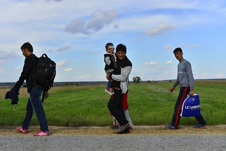 muslim baby girl: October 4, 2015; Sid in Serbia. Group of Afghan refugees leaving Serbia. They came to Sid by taxi and then they leaving Serbia and go to Croatia and then to Germany. Many of them escapes from home because of civil war.