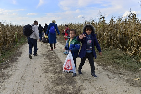 syrian civil war: October 4, 2015; Sid in Serbia. Group of Afghan refugees leaving Serbia. They came to Sid by taxi and then they leaving Serbia and go to Croatia and then to Germany. Many of them escapes from home because of civil war.