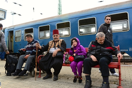 syrian war: October 6,2015; Hegyeshalom in Hungary. Group of refugees leaving Hungary. They came to Hegyeshalom by train and then they leaving Hungary and go to Austria and then to Germany. Many of them escapes from home because of civil war.