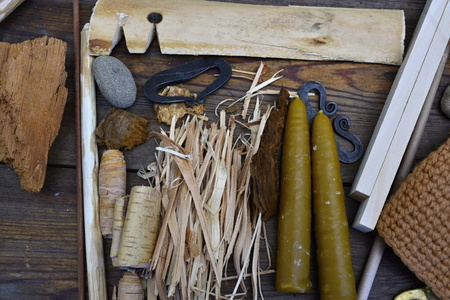 making a fire: historical tools for making fire from czech republic