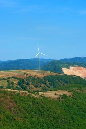 helena: electric windmill in Svata Helena in Romania Stock Photo