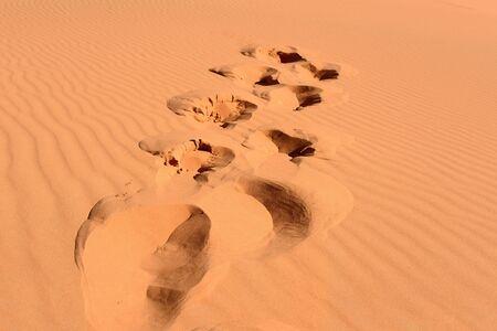 footsteps in Sahara in Morocco near Merzouga