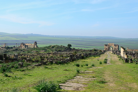 empire: Volubilis - ruins of historical city from age of roman empire