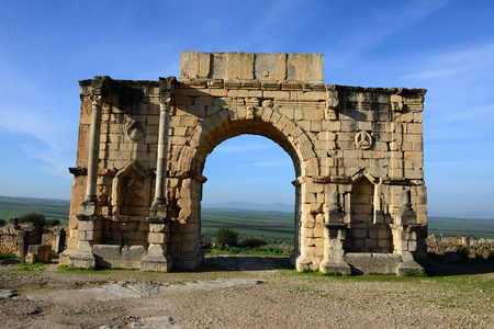 roman empire: Volubilis - ruins of historical city from age of roman empire