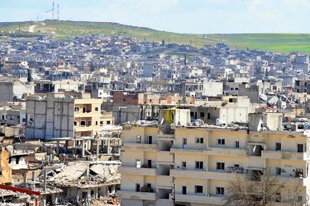 wojenne: Niszczenie Kobane - kurdyjski miasto w północnej Syrii. 31.03.2015, Kobane, Syria Publikacyjne