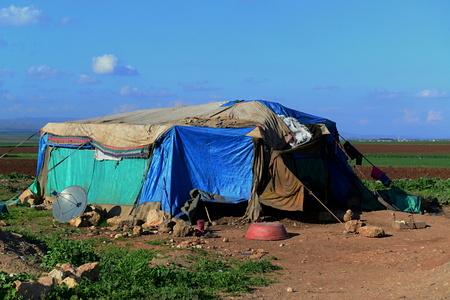 syrian civil war: portrait of refugees living homeless in Turkey. 1.4.2015 Reyhanli, Turkey Editorial