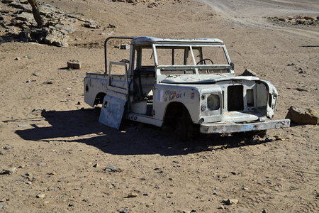 4wd: nice vintage offroad car in Morocco near Mhamid Stock Photo