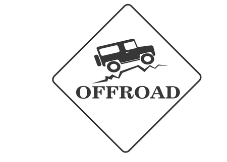 vintage old offroad sign - vector animation Stock Illustratie