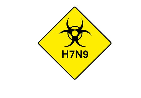 h1n1 vaccine: yellow symbol for BIOHAZARD with possible text