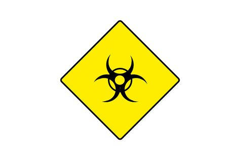 biohazard: yellow symbol for BIOHAZARD with possible text