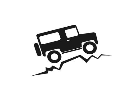 vintage old offroad sign - vector animation Illustration