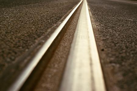 deatil: deatil of rail in Prague city center