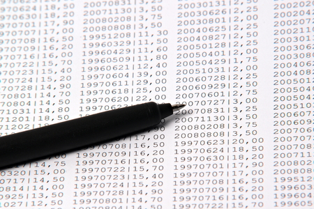 instruction sheet: pen with a lot of anonymous numbers