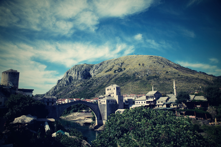 unesco: nice old bridge in Mostar - protected by UNESCO