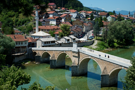 bosna: nice Old bridge in Konjic - Bosnia and Herzegovina Stock Photo