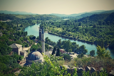 bosnia hercegovina: nice Panoramic view of Pocitelj, medieval city in Bosnia and Hercegovina