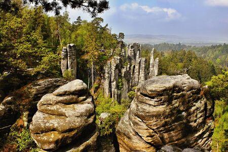 stoney: sandstone rocks in czech republic in prachovske skaly Stock Photo