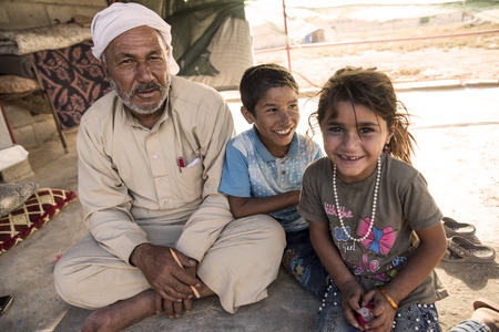unofficial: September 6, 2017, Akcakale, Turkey. Syrian people in unofficial refugee camp in Akcakale. These people are refugees from Idlib, Rakka and Aleppo and escaped because of Syrian civil war. Editorial
