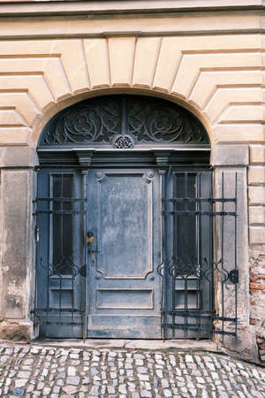 old ancient house door Stock Photo