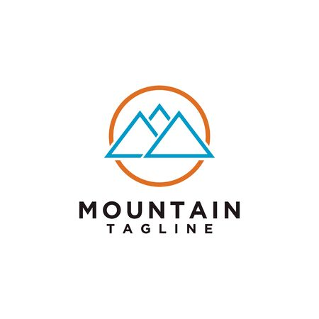 Mountain or hill or Peak logo design. Camp or adventure icon, Landscape symbol and can be used for travel and tourist brands. Minimalist style blue color