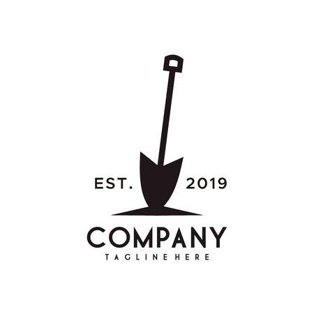 Design del logo pala o vanga con colore nero in stile retrò