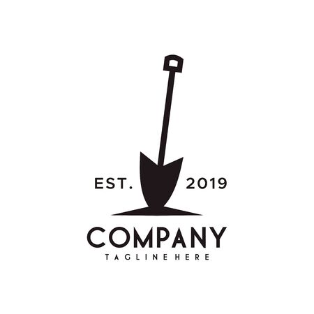 Shovel or Spade logo design with retro style black color Çizim