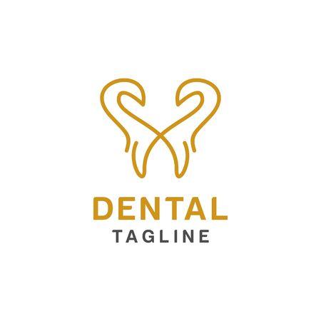 Dental logo design, icon or symbol. Simple minimalist style for medical brand