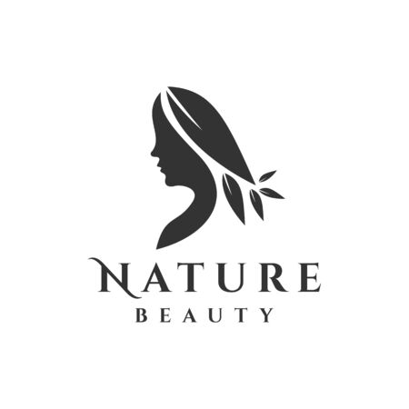 Woman logo with leaf. Nature illustration Stock Illustratie