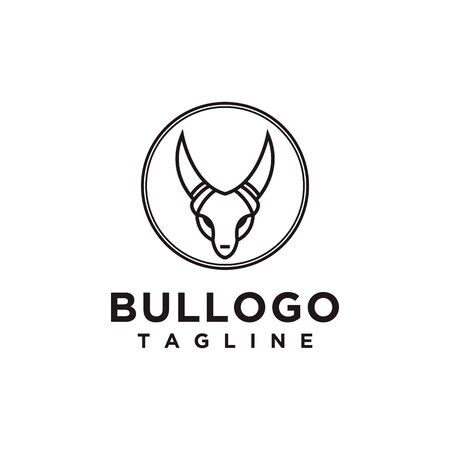 Bull logo design simple minimalist style for business or company brand