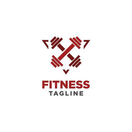 Fitness Logo. Symbol of sport barbel, health, illustration of fresh life. Simple and minimalist style
