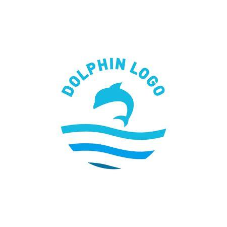 Dolphin logo design jump above a sea with blue color Ilustração