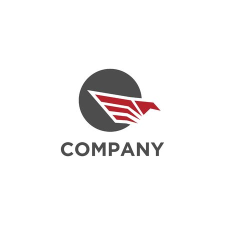 Eagle logo or hawk, bird sign with circle red color and grey Illustration