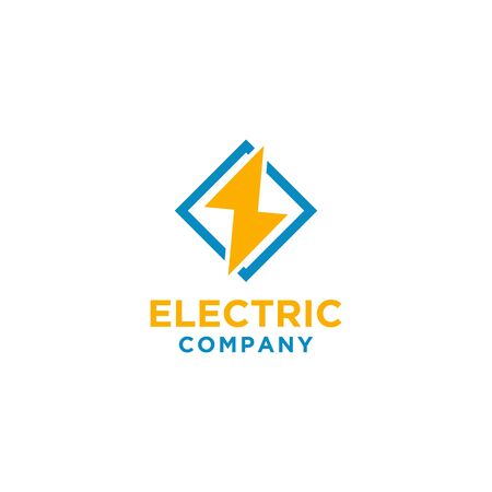 Electric logo design with square frame. Yellow and blue color