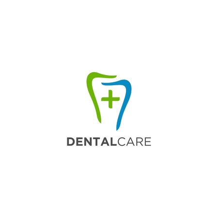 Dental logo design Icon design with plus sign in the middle