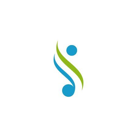 Human logo design . Simple minimalist style with green and blue color