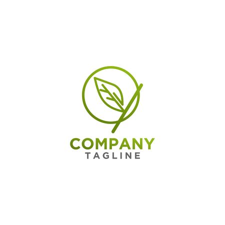 Leaf Logo design green color. Fresh life, nature symbol or sign. For cosmetics or health, spa brand.