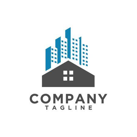Vettore di design del logo immobiliare di lusso o edificio, hotel, simbolo della casa per esigenze aziendali immobiliari