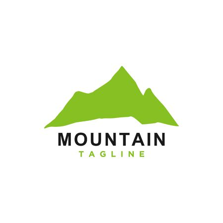 Mountain or hill or Peak logo design vector. Camp or adventure icon, Landscape symbol and can be used for travel and tourist brands. Minimalist style green color.