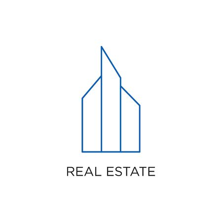 Real Estate Logo, Building, or Home, Design Vector With Line, linear, style, or mono line. Illustration of Residential, Apartment, Icon, with simple, minimalist style blue color.