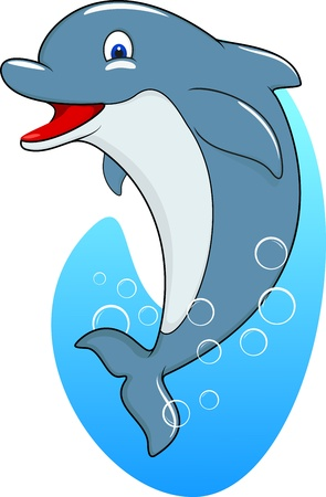 dolphin fish: Standing Dolphin Illustration