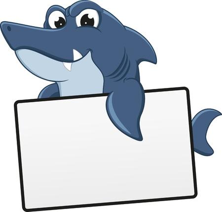 sea monster: Funny Shark Cartoon With Blank Sign