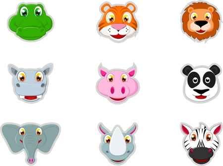 Cute Animal Head Icon Vector